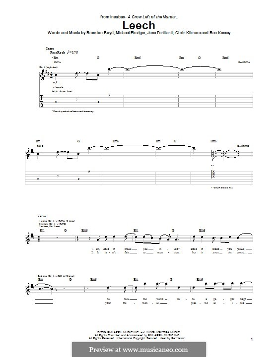 Leech (Incubus): For guitar with tab by Brandon Boyd, Jose Pasillas II, Michael Einziger