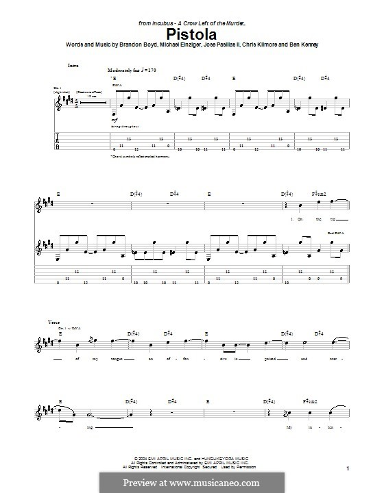 Pistola (Incubus): For guitar with tab by Brandon Boyd, Jose Pasillas II, Michael Einziger