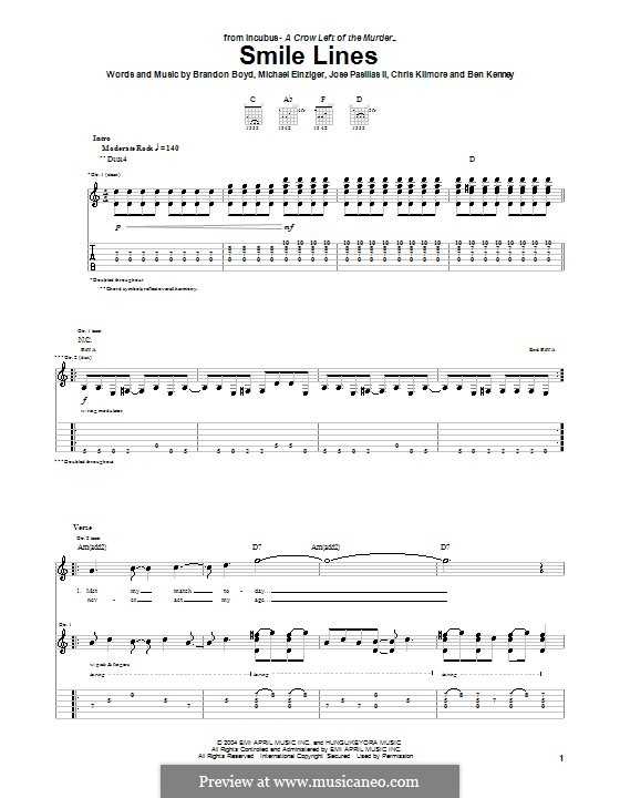 Smile Lines (Incubus): For guitar with tab by Brandon Boyd, Jose Pasillas II, Michael Einziger