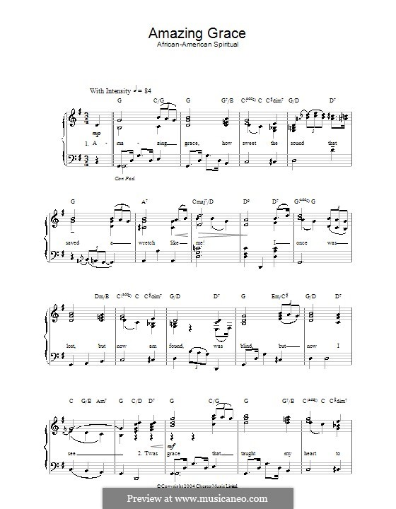 Amazing Grace (Printable Scores): For voice and piano by folklore