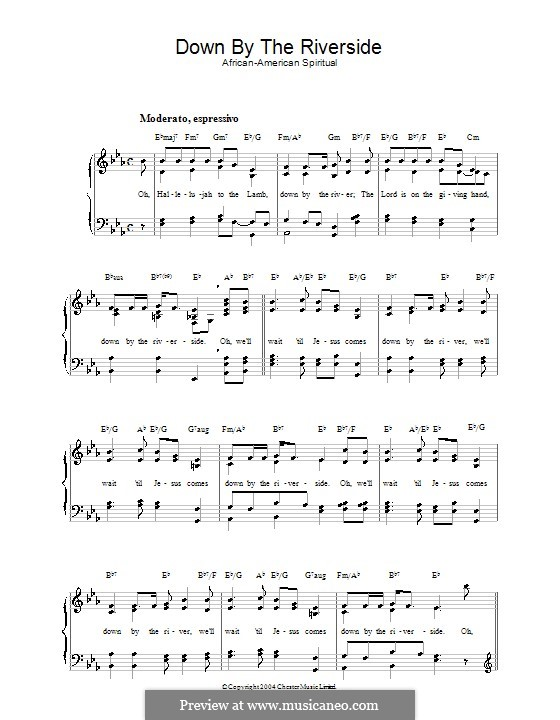 Down By the Riverside by folklore - sheet music on MusicaNeo