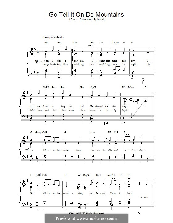 Go, Tell it on the Mountain: For voice and piano by folklore