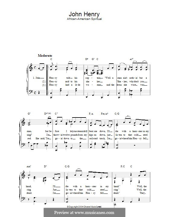 John Henry: For voice and piano by folklore