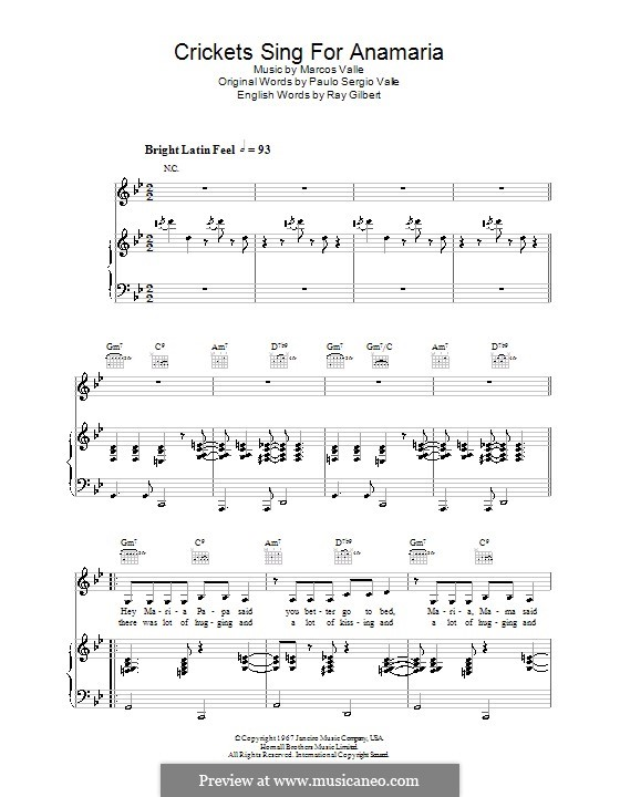 Crickets Sing for Anamaria (Astrud Gilberto): For voice and piano (or guitar) by Marcos Valle, Paulo Sergio Valle, Ray Gilbert