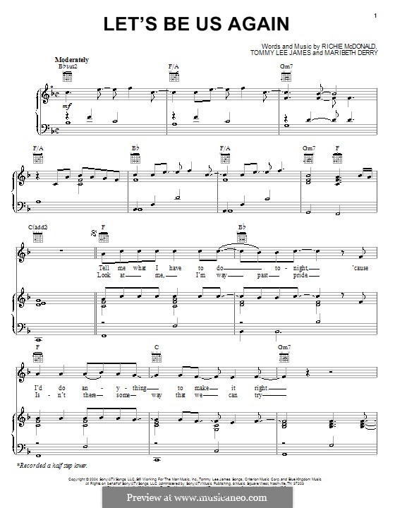Let's Be Us Again (Lonestar): For voice and piano (or guitar) by Maribeth Derry, Richie McDonald, Tommy Lee James