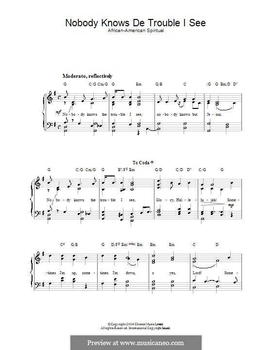 Nobody Knows The Trouble I've Seen For Voice And Piano By Folklore: African American Gospel Sheet Music At Alzheimers-prions.com