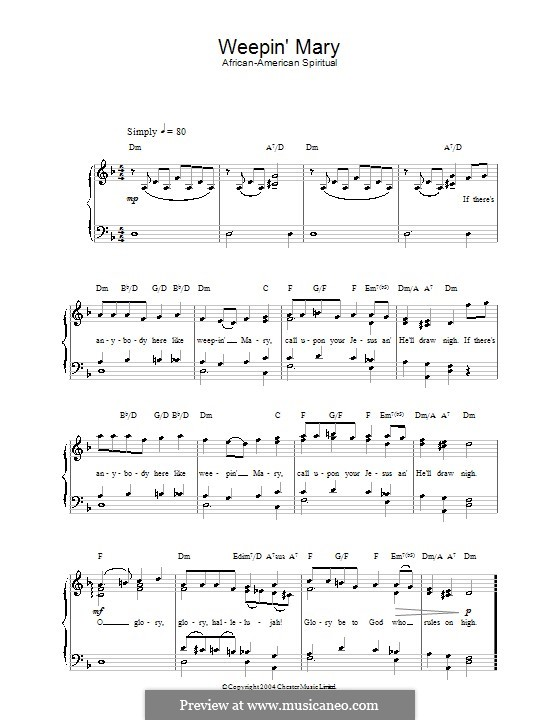 Weepin' Mary: For voice and piano by folklore