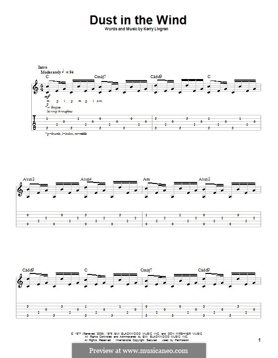 Dust in the Wind (Kansas): For guitar with tab by Kerry Livgren