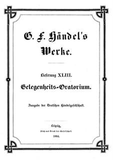 The Occasional Oratorio, HWV 62: Full score and piano score by Georg Friedrich Händel
