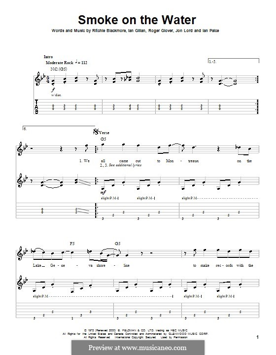 Guitar guitar tabs smoke on the water : Smoke on the Water (Deep Purple) by I. Gillan, I. Paice, J. Lord ...