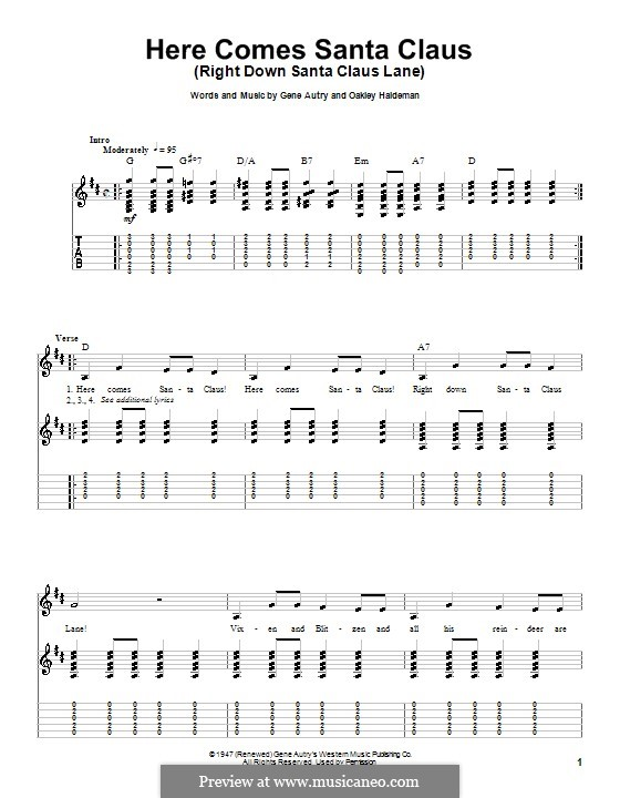 Here Comes Santa Claus (Right Down Santa Claus Lane): For guitar with tab (Carpenters) by Gene Autry, Oakley Haldeman