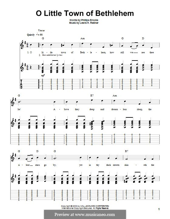 O Little Town of Bethlehem: For guitar with tabulature (G Major) by Lewis Henry Redner