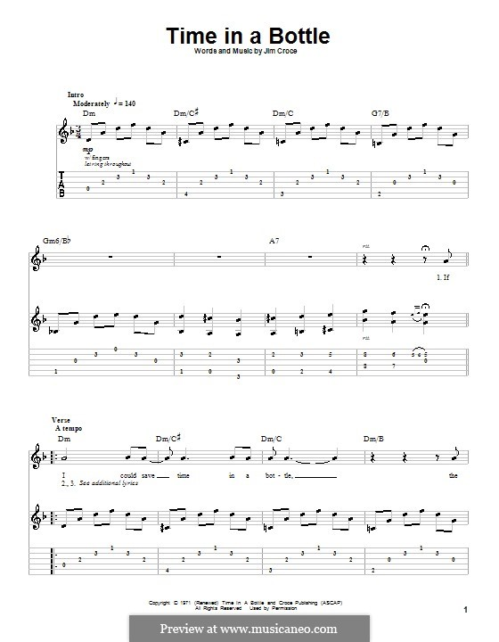 Time in a Bottle: For guitar with tab by Jim Croce