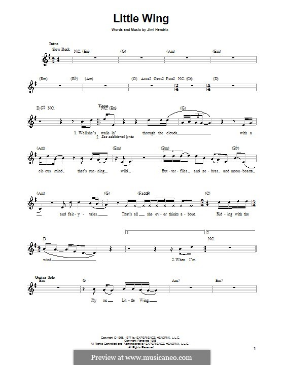 Little Wing by J. Hendrix - sheet music on MusicaNeo