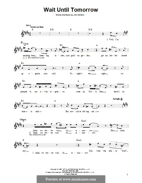 Wait Until Tomorrow By J Hendrix Sheet Music On Musicaneo
