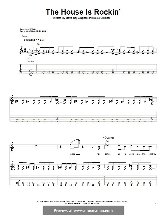 The House Is Rockin' (Stevie Ray Vaughan): For guitar with tab by Doyle Bramhall