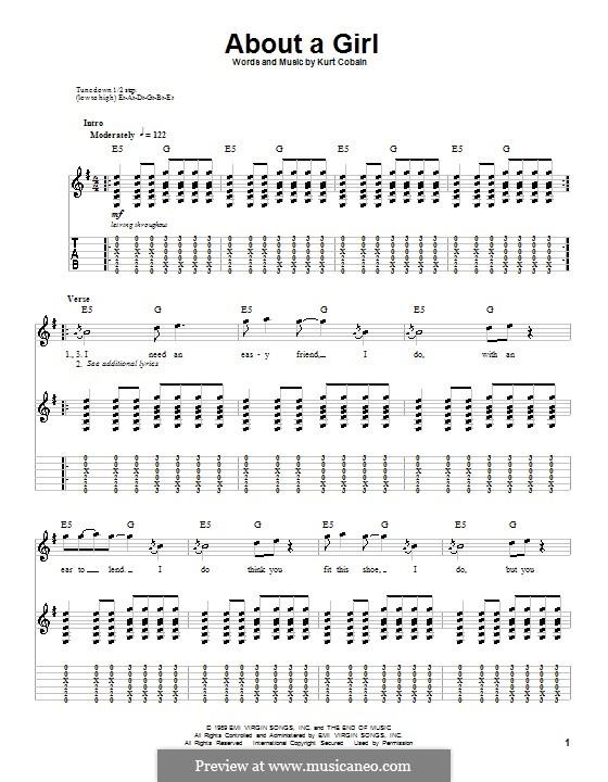 About a Girl (Nirvana): For guitar with tab by Kurt Cobain