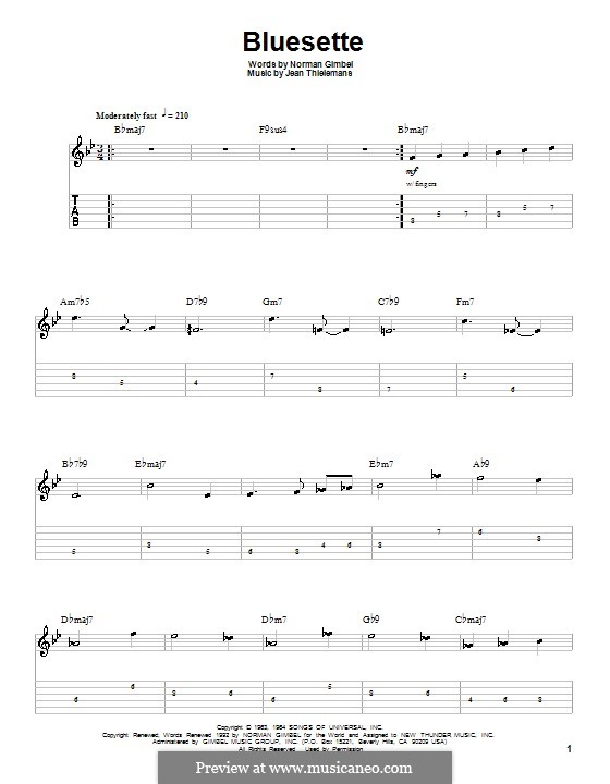 Bluesette: For guitar with tab by Jean Thielemans