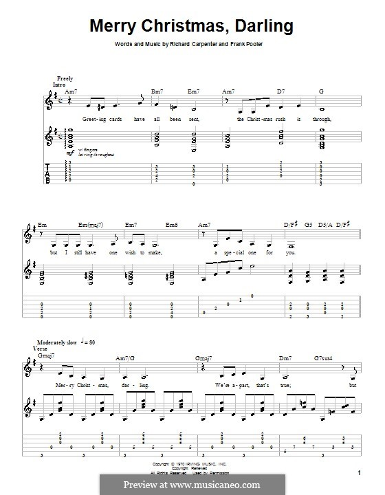 Merry Christmas, Darling (Carpenters): For guitar with tab by Frank Pooler, Richard Carpenter