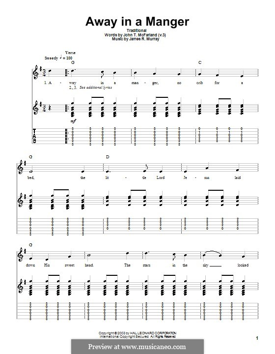 Away in a Manger (Printable Scores): For guitar with tab by James R. Murray