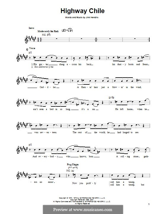 Highway Chile: Melody line, lyrics and chords by Jimi Hendrix