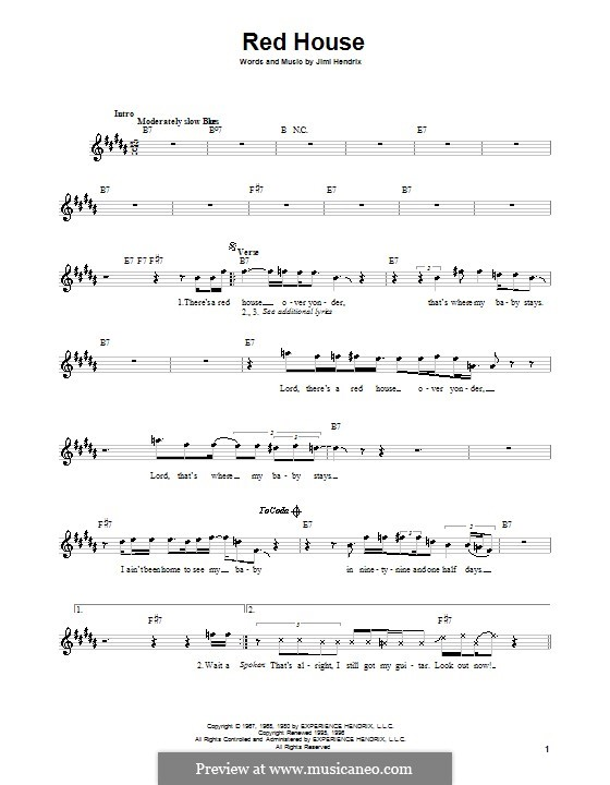 Red House: Melody line, lyrics and chords by Jimi Hendrix