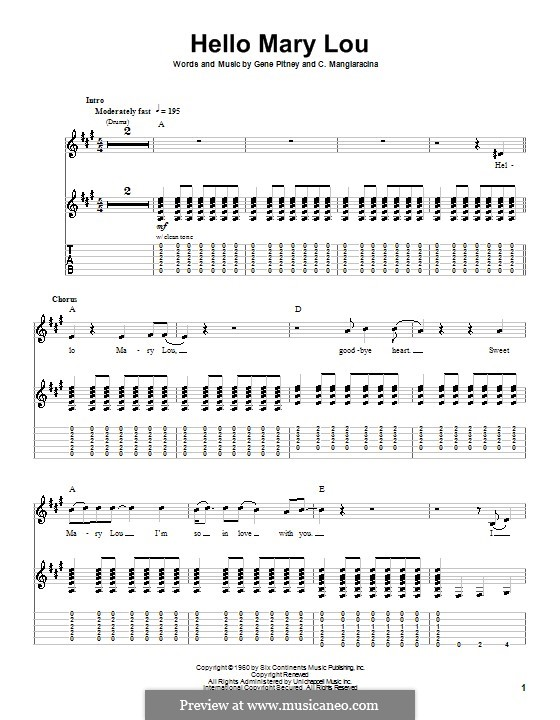 Hello Mary Lou (Ricky Nelson): For guitar with tab by Cayet Mangiaracina, Gene Pitney