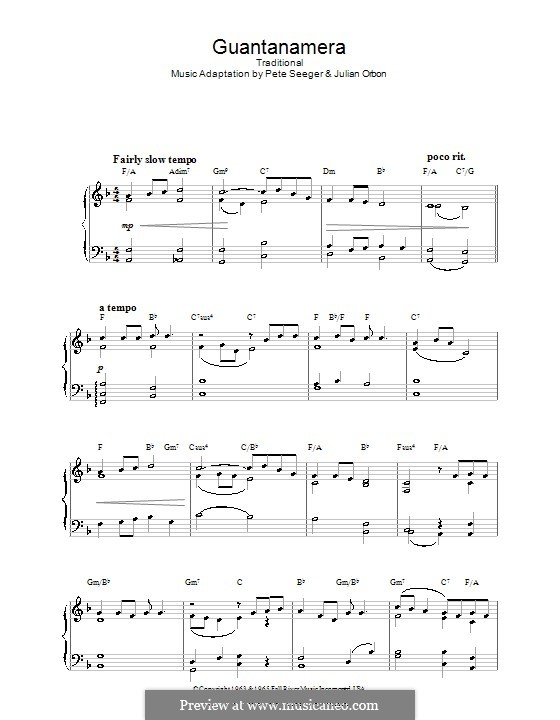 Guantanamera: For piano by Peter Seeger