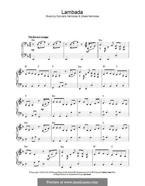 Lambada (Kaoma): For piano by Gonzalo Hermosa, Ulises Hermosa