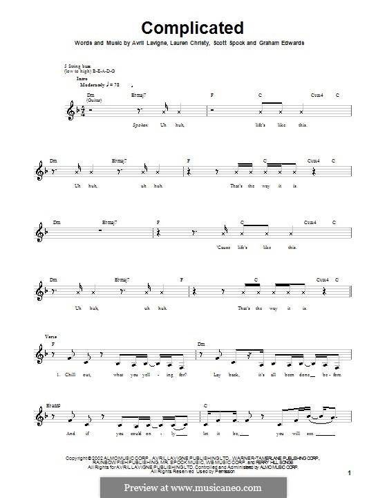 Complicated: For bass guitar with tab by Avril Lavigne, Graham Edwards, Lauren Christy, Scott Spock