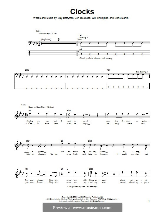 Clocks (Coldplay): For bass guitar with tab by Chris Martin, Guy Berryman, Jonny Buckland, Will Champion