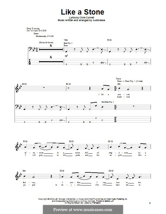 Like a Stone (Audioslave) by C. Cornell - sheet music on MusicaNeo