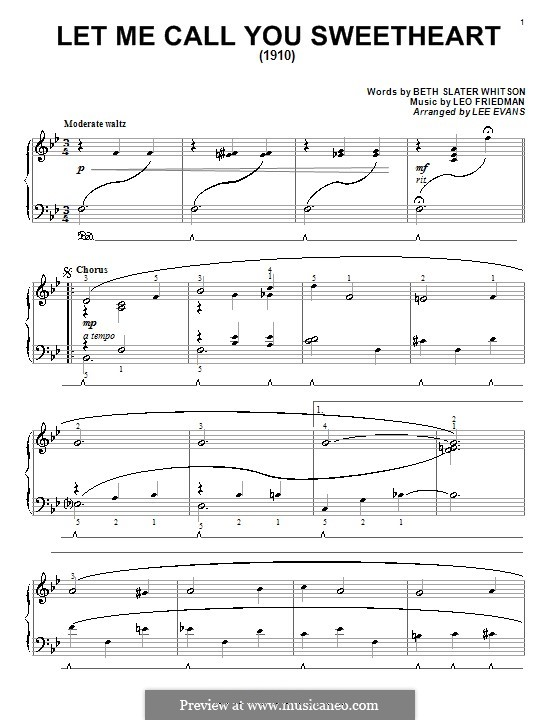 Let Me Call You Sweetheart: For piano by Leo Friedman