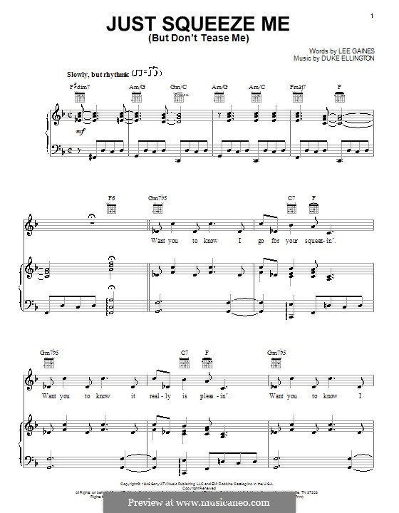 Just Squeeze Me (But Don't Tease Me): For voice and piano or guitar (Duke Ellington) by Lee Gaines