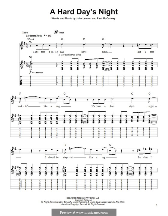 A Hard Day's Night (The Beatles): For guitar with tab by John Lennon, Paul McCartney