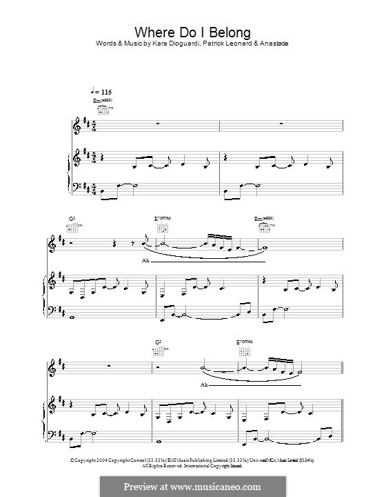 Where Do I Belong (Anastacia): For voice and piano (or guitar) by Kara DioGuardi, Patrick Leonard