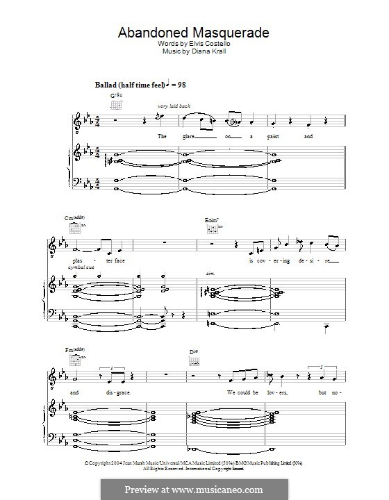 Abandoned Masquerade: For voice and piano (or guitar) by Diana Krall