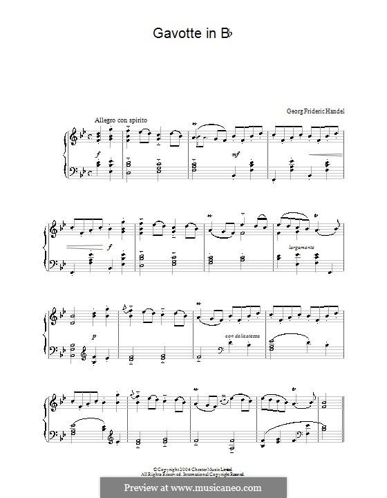 Otto, King of Germany, HWV 15: Gavotte. Version for piano by Georg Friedrich Händel