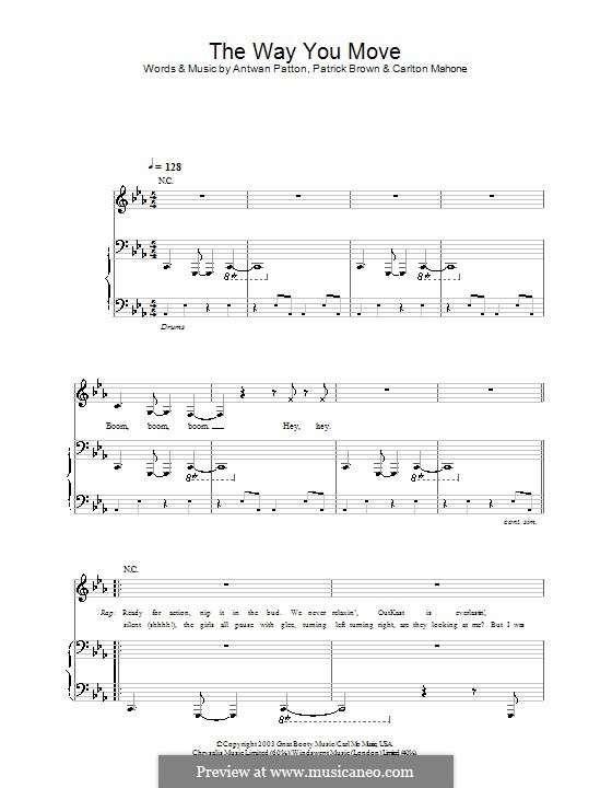 The Way You Move (OutKast): For voice and piano (or guitar) by Antwan Patton, Carlton Mahone, Patrick Brown
