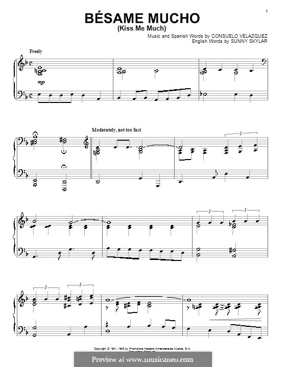 Besame Mucho (Kiss Me Much): For piano by Consuelo Velazquez