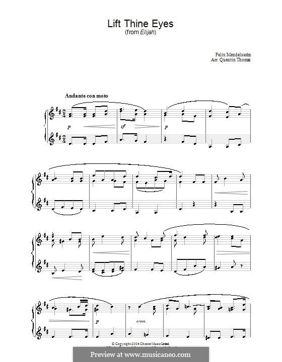 Elijah, Op.70: Lift thine eyes, for piano by Felix Mendelssohn-Bartholdy