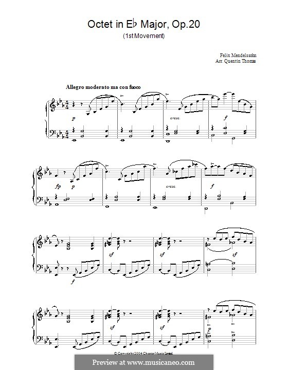 String Octet in E Flat Major, Op.20: Movement I. Version for piano by Felix Mendelssohn-Bartholdy