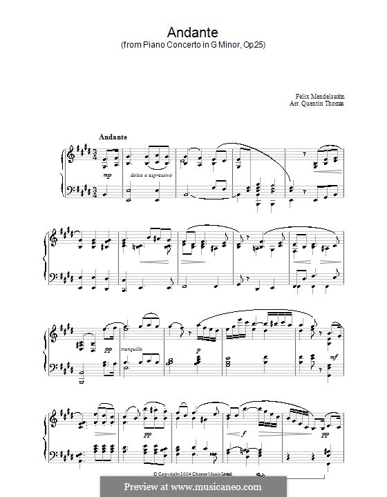 Concerto for Piano and Orchestra No.1 in G Minor, Op.25: Movement II. Version for piano by Felix Mendelssohn-Bartholdy