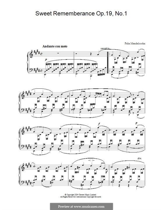 Songs without Words, Op.19b: No.1 Andante con moto by Felix Mendelssohn-Bartholdy