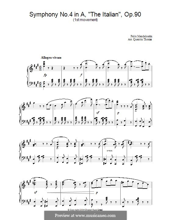 Symphony No.4 in A Major 'Italian', Op.90: Movement I (Fragment), for piano by Felix Mendelssohn-Bartholdy