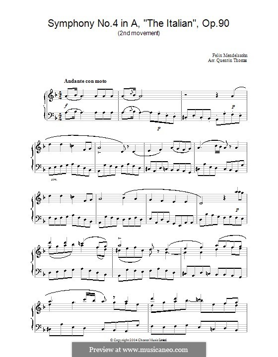 Symphony No.4 in A Major 'Italian', Op.90: Movement II (Fragment), for piano by Felix Mendelssohn-Bartholdy