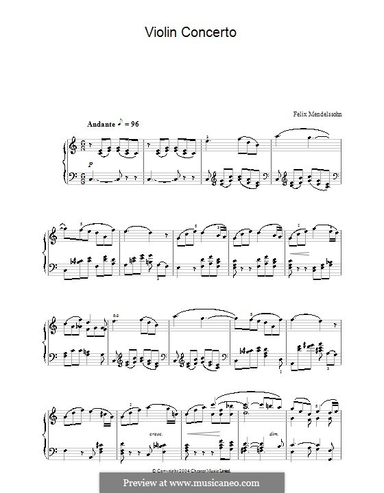 Concerto for Violin and Orchestra in E Minor, Op.64: Fragment. Version for piano by Felix Mendelssohn-Bartholdy