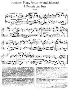 Fantasia, Fugue, Andante and Scherzo, BWV 905: For piano, BV B 42 by Johann Sebastian Bach