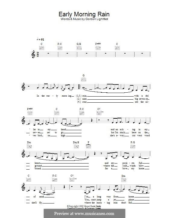 Early Morning Rain (Eva Cassidy): Melody line, lyrics and chords by Gordon Lightfoot