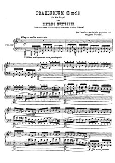 Prelude for Organ in E Minor, BuxWV 143: Version for piano by Dietrich Buxtehude